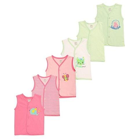 OHMS Baby Cotton Front Open Jablas (1026_Pink-Green-Nb_3-6 M)