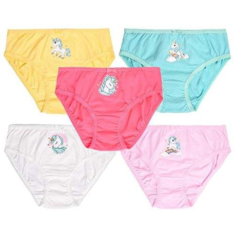 Charm n Cherish Kids Horse Print Girls Briefs (Pack of 5) GWBRO5 || 2-12 Yrs Under wear Panties Unicorn Print