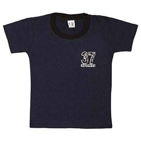 S.R.Kids Cotton Baby Boys Rib Neck Navy Tshirt