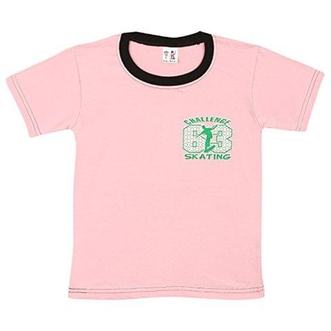 S.R.Kids Cotton Baby Boys Rib Neck Pink Tshirt