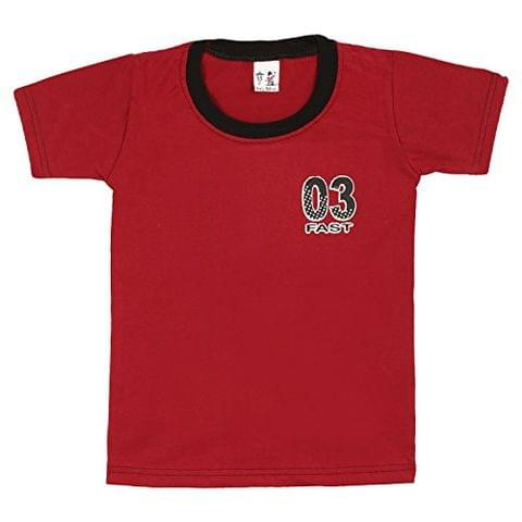 S.R.Kids Cotton Baby Boys Rib Neck Red Tshirt