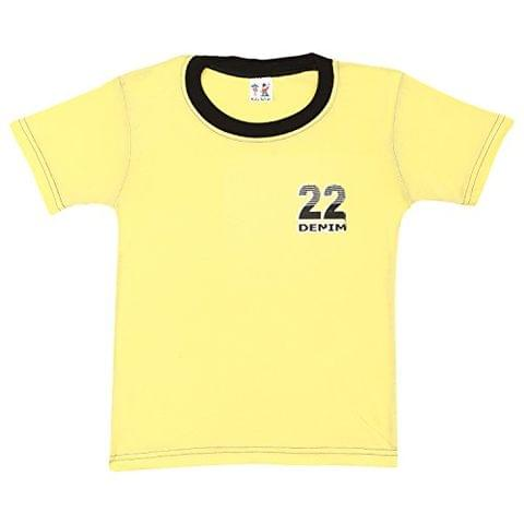 S.R.Kids Cotton Baby Boys Rib Neck Yellow Tshirt