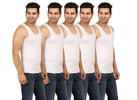 SR Kids Wear S.R White Cotton Vest (Pack of 5)