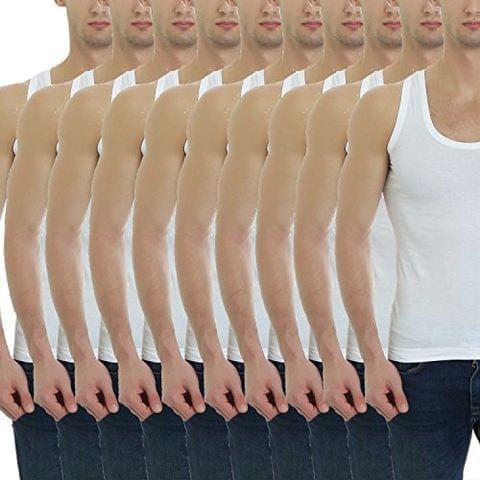 GBROS Mens Vest Cotton White Innerwear, Underwear Pack of 10