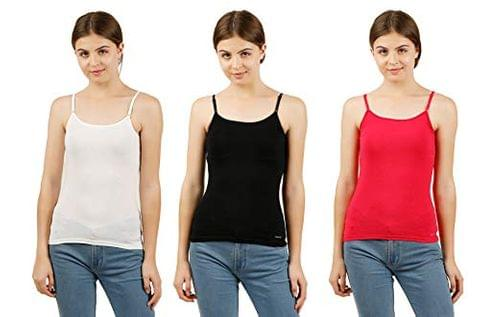 GBROS Strap Camisole Slip Innerwear for Women Pack of 3(Assorted Colours)