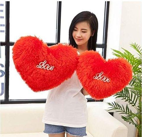 Red Color Cute/Soft /Stuffed Heart Shape Cushion Pillow 40 cm Set of 1