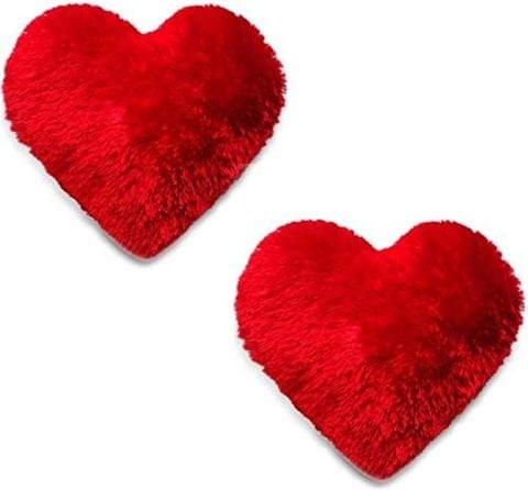 red Color Soft/Cuddle Heart Shape Cushion Set of 2