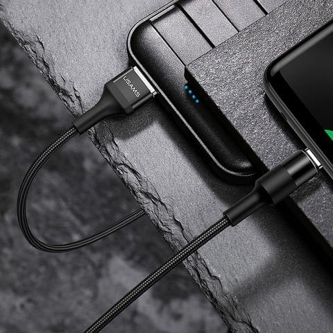 USAMS US-SJ221 U5 1.2m 2A Output USB to USB-C / Type-C Aluminium Alloy + Braided Data Sync Charging Cable (Black)