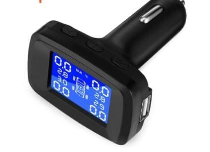 Car Smart TPMS Tyre Pressure Monitoring System 4 Internal Sensors ,Cigarette Lighter USB, Realtime Tire Alarm PSI BAR.