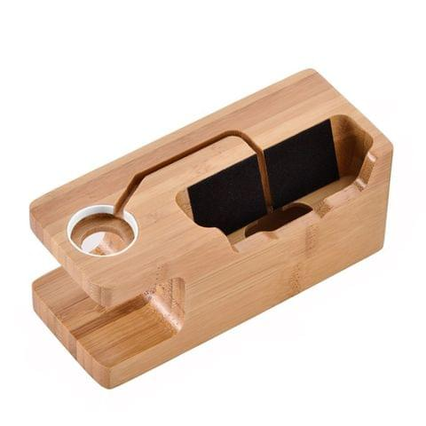 Multi-function Carbonized Bamboo 3 USB Ports Charging Dock Holders Stand Cradle Bracket