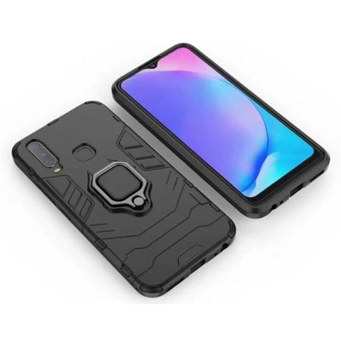 PC + TPU Shockproof Protective Case for Vivo Y17, with Magnetic Ring Holder (Black)