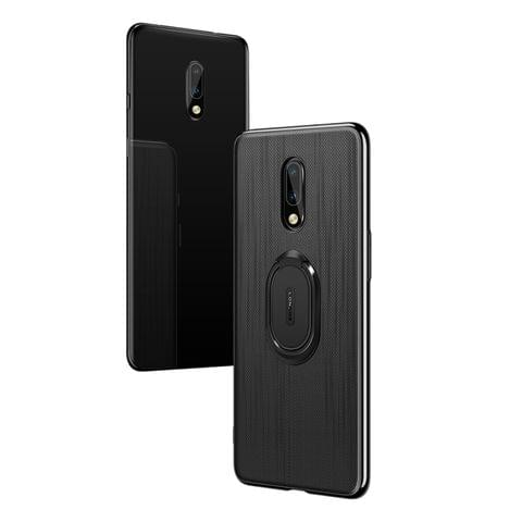 LONDOR Shockproof PC + TPU Case for OnePlus 7, with Metal Holder(Black)