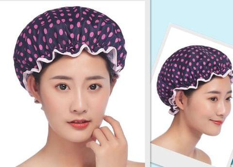 Waterproof Reusable Shower Cap Adult Use Resizable, Double Layer - Chiffon