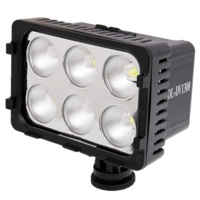 DL-DV1300 6 LED Video Light with Two Color Transparent Filter Cover and 7.2V 2200mAh NP-F550 li-ion Battery for Camera / Video Camcorder