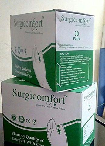 SURGICOMFORT, Latex Surgical Gloves, 50 Pair Box, Size 7.5, (Lightly Powdered)