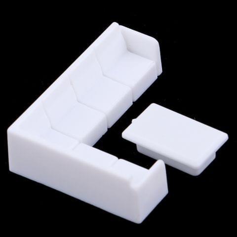 Eassycart Dollhouse Miniature Furniture Plastic White Tea Table Sofa Set DIY Toys 1/50