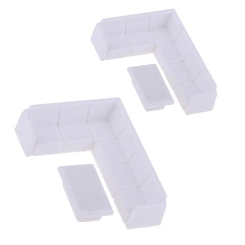 Eassycart Dollhouse Miniature Furniture Plastic White Tea Table Sofa Set DIY Toys 1/75