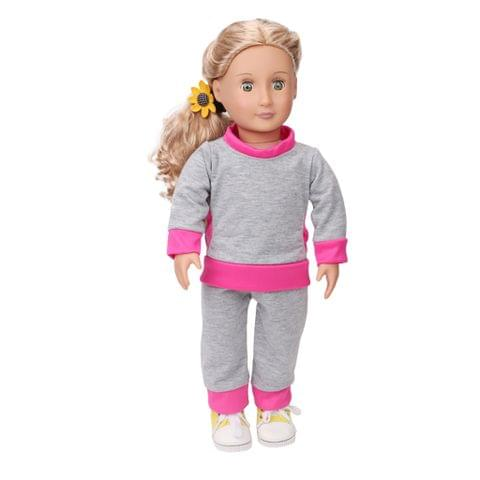 Eassycart Fashion Doll Clothes Casual Outfit Set for 18''American Girl Dolls Gray Pink