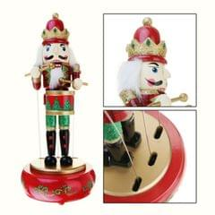 Retro Wooden Nutcracker Drummer Music Box for Gift Vintage Home Decoration(Red)