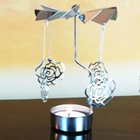 Christmas New Year Home Decoration Rose Pattern Metal Spinning Candle Holder