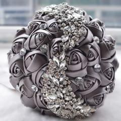 Wedding Holding Flowers Bridal Bouquet Accessories Bridesmaid Rhinestone Party Wedding Decoration Supplies(Grey)