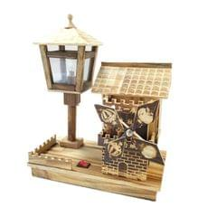 Retro Windmill House Style Wooden Music Box Home Decoration with LED Lamp