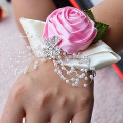 Handmade Wedding Bride Wrist Flower Boutonniere Bouquet Corsage Diamond Satin Rose Flowers(Pink)
