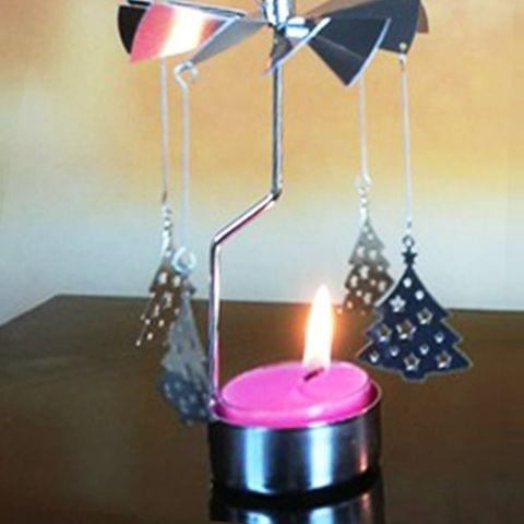 Christmas New Year Home Decoration Christmas Tree Pattern Metal Spinning Candle Holder