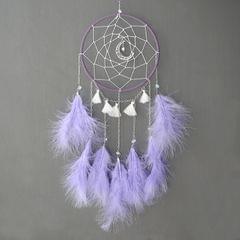 DIY Handmade Decorative Dream Catcher Wall Hanging Dreamcatcher Feather Crafts Kids Stuff Wall Room Decor(Purple)