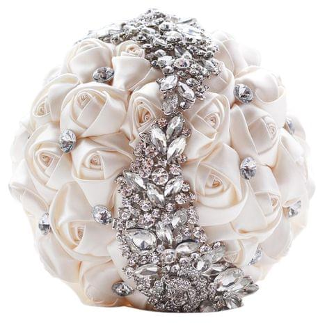 Wedding Holding Flowers Bridal Bouquet Accessories Bridesmaid Rhinestone Party Wedding Decoration Supplies(White)