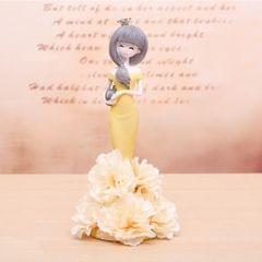 Lovely Orchid Girl Style Resin Crafts Ornaments Room Decoration (Yellow)