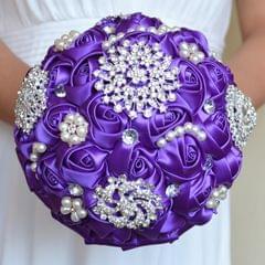 Wedding Holding Pearl Diamond Flowers Bridal Bouquet Accessories Bridesmaid Rhinestone Party Wedding Decoration Supplies, Diameter: 20cm(Purple)