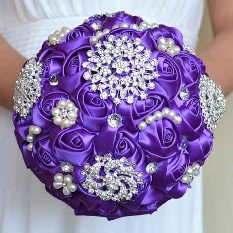 Wedding Holding Pearl Diamond Flowers Bridal Bouquet Accessories Bridesmaid Rhinestone Party Wedding Decoration Supplies, Diameter: 20cm(Purple)