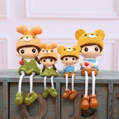 Sweet Cartoon Family Set of 4 for Home House Decoration Desk Ornament