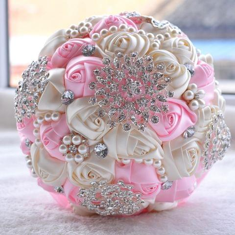 Wedding Holding Pearl Diamond Flowers Bridal Bouquet Accessories Bridesmaid Rhinestone Party Wedding Decoration Supplies, Diameter: 20cm(Pink)
