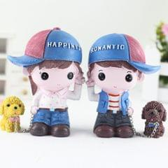 Resin Crafts Perfume Crystal Base Couple Dolls Chain Puppy Ornaments Room Car Decoration Gift