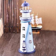 Creative Mediterranean Style Iron Handmade Flash Lighthouse, Random Style Delivery, Size: 28.5*9.5cm