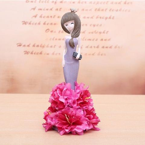 Lovely Orchid Girl Style Resin Crafts Ornaments Room Decoration (Purple)