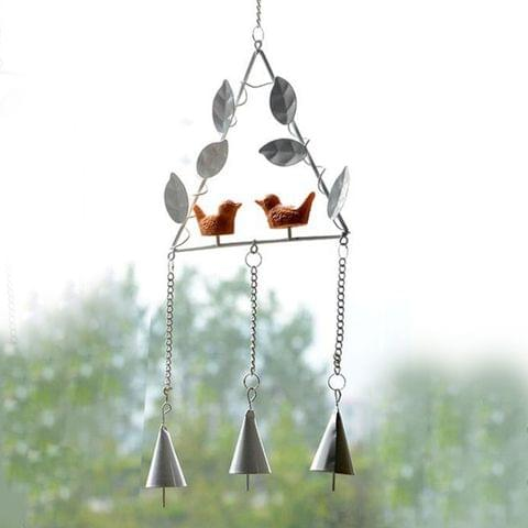Creative Wall Bird Design Wind Campanula Metal Chimes Ornaments Crafts Wind Chimes Triangular Birds Bells Household Adornment Wall Hanging, Random Color Delivery