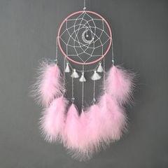 DIY Handmade Decorative Dream Catcher Wall Hanging Dreamcatcher Feather Crafts Kids Stuff Wall Room Decor(pink )