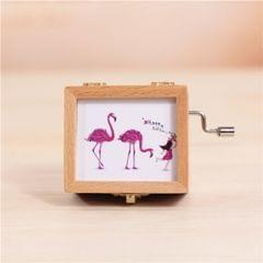 Dual Flamingos and Girl Pattern Retro Style Wooden Hand Cranking Music Box Home Decoration