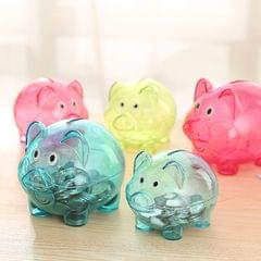 Transparent Plastic Money Saving Box Case Coins Piggy Bank Cartoon Pig Shaped, Size:12x8x11cm(Red)