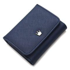 Short Mini Women Wallets Crown Decorated Fold PU Leather Coin Purse Card Holder(Blue)