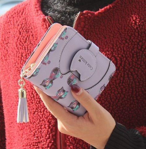 Tassel Cartoon Cat Women Wallet Printing PU Leather Women Walelt(Purple)