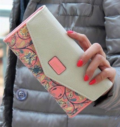 Long Leather Floral Pattern Wallets Coin Purses Money Bag for Women(Pink)