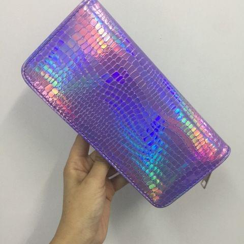 Stone Pattern Ladies Wallet Laser Long Wallet Zipper Student Clutch Bag Handbag(purple)
