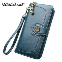 Vintage Button Phone Purses Women Wallets Female Purse Leather Brand Retro Ladies Long Zipper Woman Wallet Card Clutch(Long black)