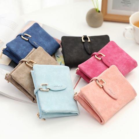 Short Purses Vintage PU Leather Lady Women Wallet Hand Bag(Black)