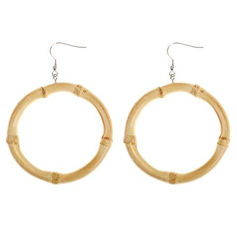 Eassycart Vintage Country Style Fresh Natural Bamboo Round Circle Dangle Hook Earrings
