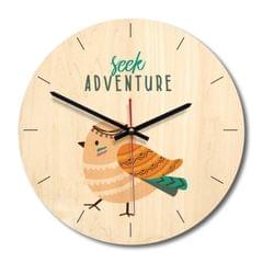 Indian Bird Pattern Home Office Bedroom Decoration Wooden Mute Wall Clock, Size : 28cm
